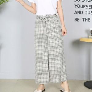 Plaid Full Length String Closure Female Pants - Khaki