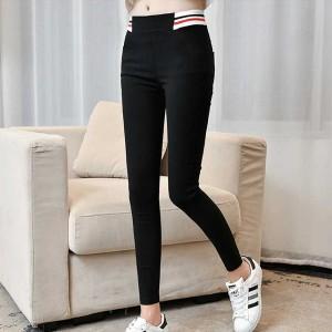 Striped Print Elastic Slim Body Trousers - Black