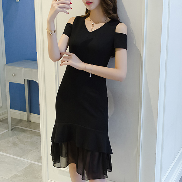 Solid Color Ruffled Hem Mini Chiffon Dress