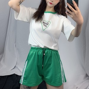 Two Pieces Loose Wear T-Shirt With Shorts Bottom - Green
