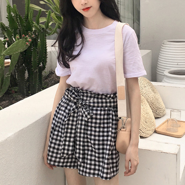 Waist Belt Checks Print Two Piece Skirt Dress - White