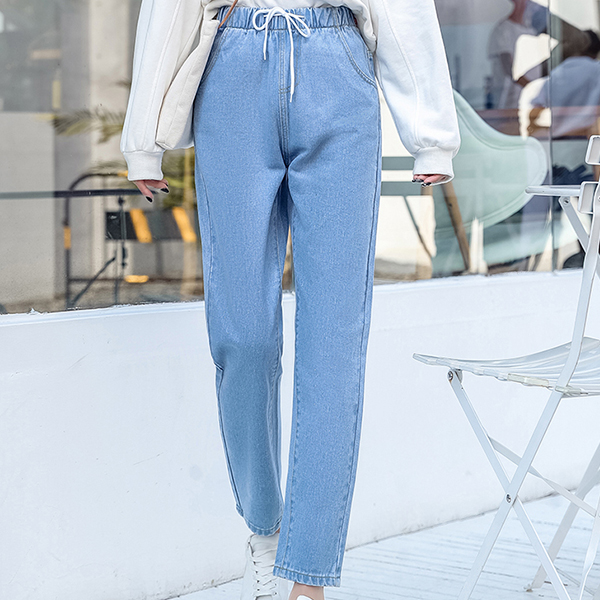 Vintage Style Narrow Jeans Bottom - Blue