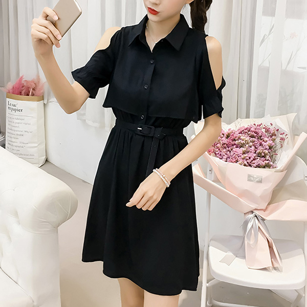 Solid Color Shirt Collar Mini Dress - Black