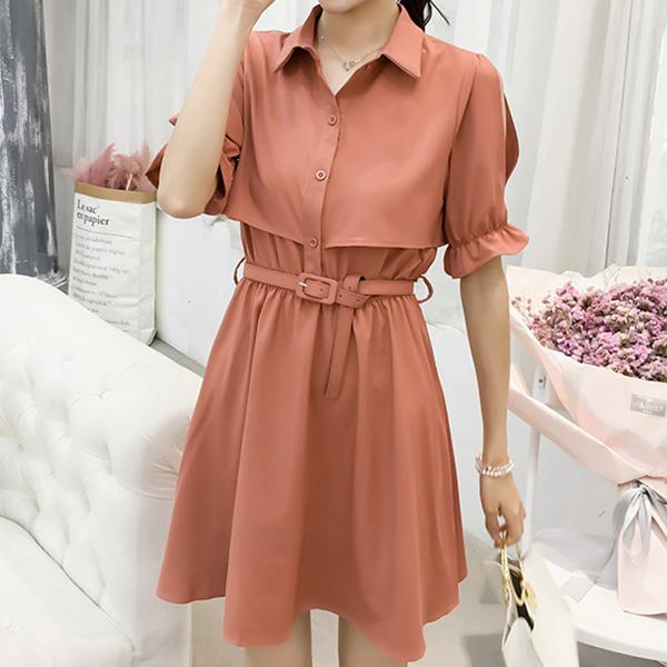 Solid Color Shirt Collar Mini Dress - orange