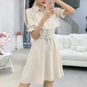 Solid Color Shirt Collar Mini Dress - Khaki