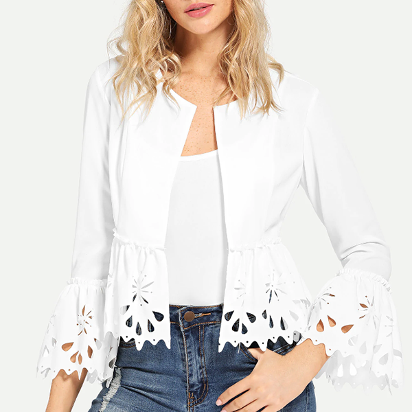 Textured Cut Out Flounced Cardigan - White