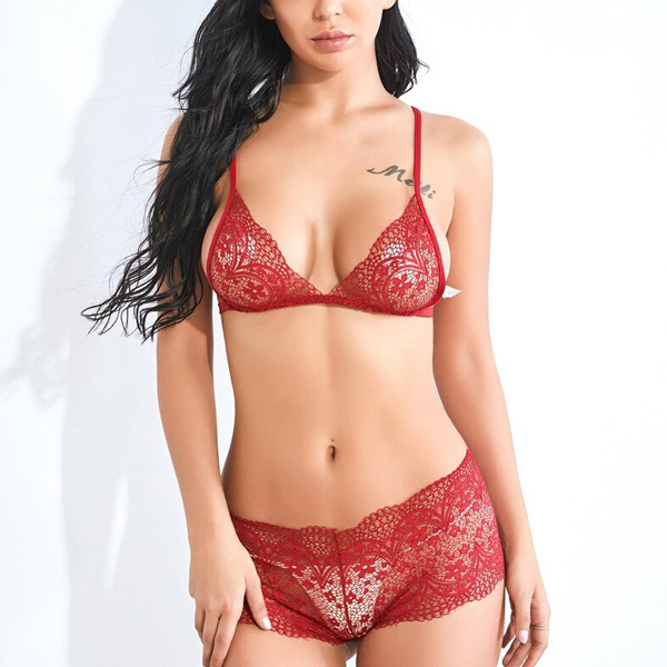 Hollow Lace Floral Casual Bikini - Red