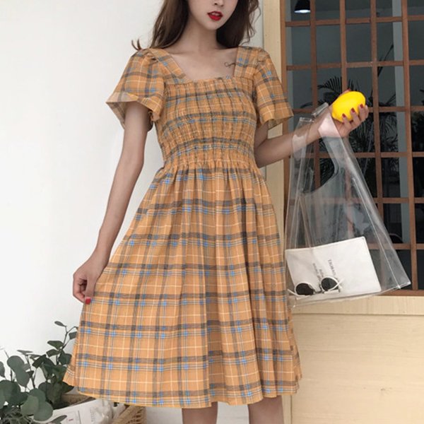 Check Prints Short Sleeves Midi Casual Dress - Yellow