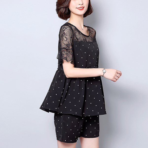 Polka Prints Lace Two Piece Casual Suit - Black