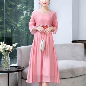 Rose Embroidery Round Neck Irregular Dress - Pink
