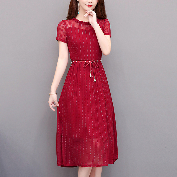 Pearl Waist Band Frilled Round Neck Party Dress - Red