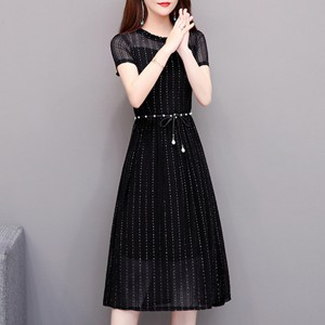 Pearl Waist Band Frilled Round Neck Party Dress - Black