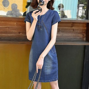 Round Neck Denim Short Sleeved Mini Dress - Blue