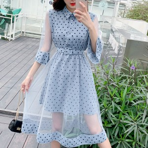 Polka Prints Net Hem Speaker Sleeved Dress - Blue
