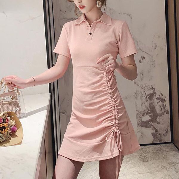 Drawstring Hem Party Wear Casual Mini Dress - Pink