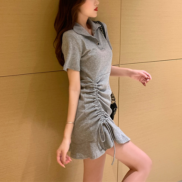 Drawstring Hem Party Wear Casual Mini Dress - Grey