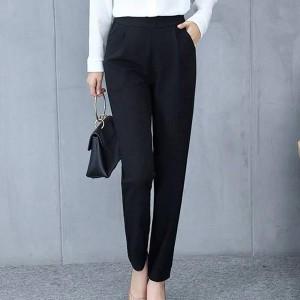 Slim Curtain Female Casual Dress Pants - Black