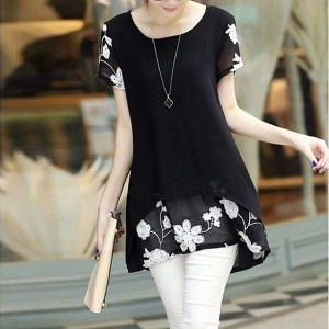 Thread Art Floral Round Neck Mini Dress - Black
