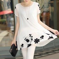 Thread Art Floral Round Neck Mini Dress - White