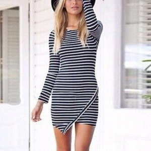 Pencil Slim Casual Long Sleeve Striped Dress - Black