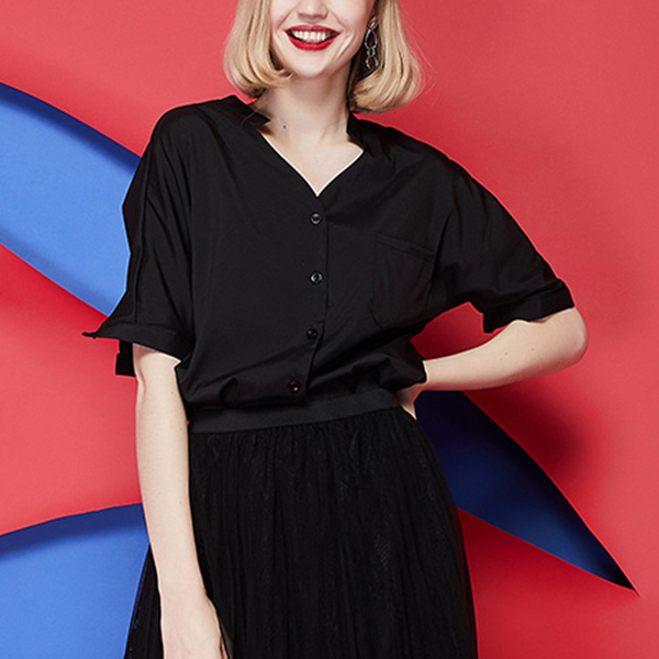 Solid Button Closure Half Sleeves Formal Shirt - Black