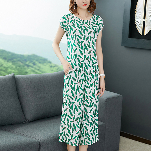 Two Pieces Printed Short Sleeves Casual Suit - Leaves
