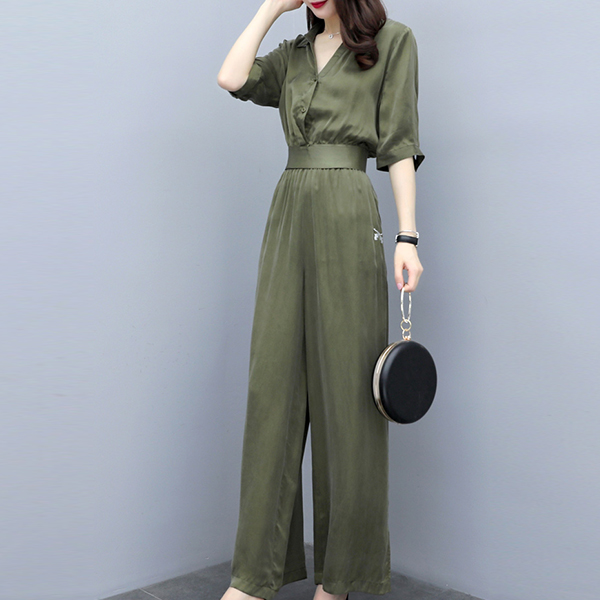 Shirt Collar Blouse Top With Bottom Trousers - Green