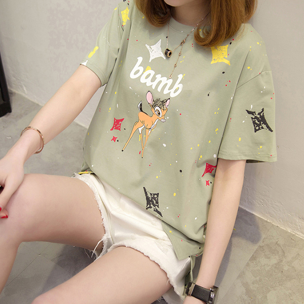 Deer Prints Cute Colorful Casual T-Shirt - Green