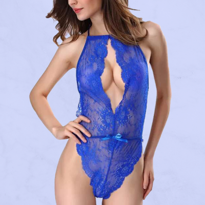 Slim Lace Texture Deep V Neck Night Lingerie - Blue