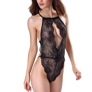 Slim Lace Texture Deep V Neck Night Lingerie - Black