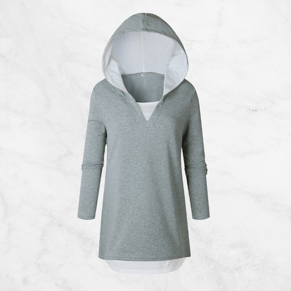 Two Pieces Fake Grey Hoodie Top