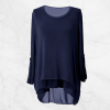 Fake Two Piece Back Buttons Dark Blue Top