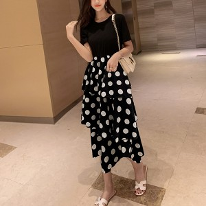 Ruffled Polka Prints Party Skirt Dress - Black