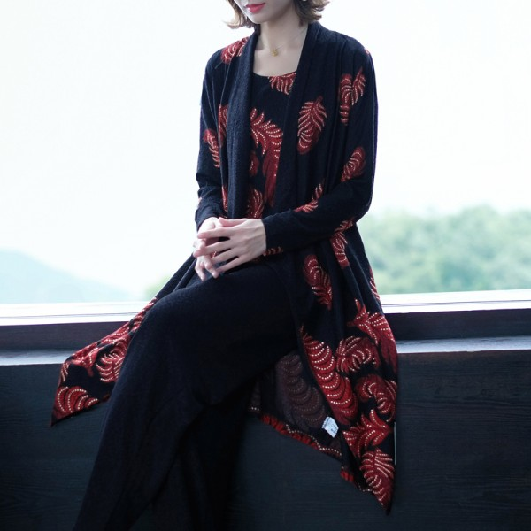 Leaf Pattern Long Sleeves Two Piece Dress - Black