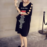Hollow Sleeves Printed T-Shirt Dress - Black