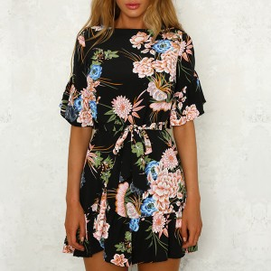 Half Sleeves Floral Prints Mini Dress - Black