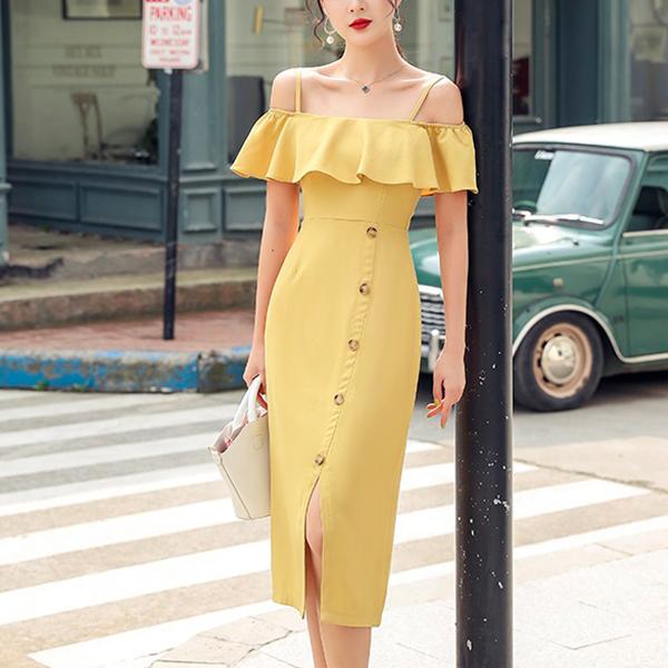 Flare Shoulder Slash Hem Button Midi Dress - Yellow