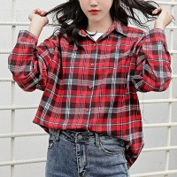 Loose Outwear Check Prints Summer Shirt - Red