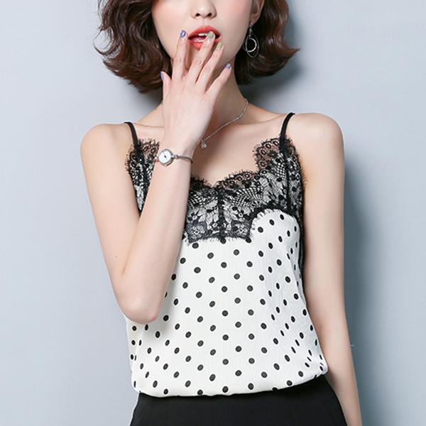 Tassel Lace Strap Shoulder Fancy Blouse Top - White