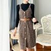 Checks Button Up Casual Bib Skirt - Black