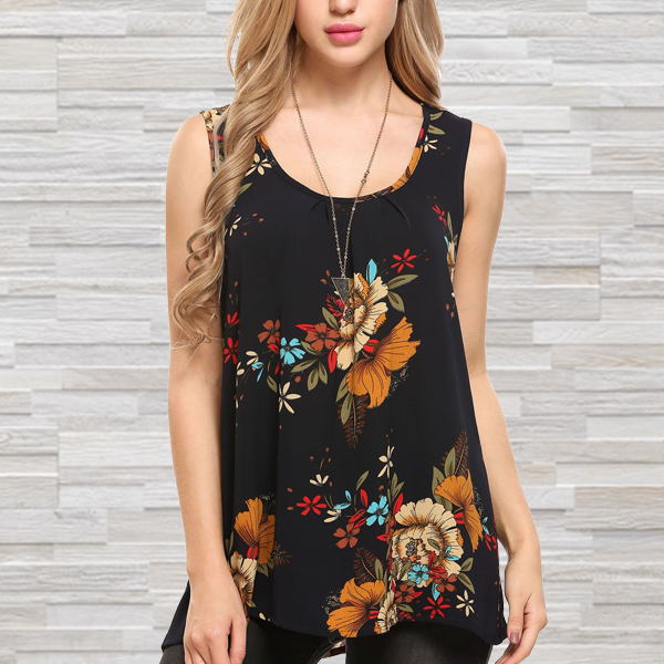 Scoop Neck Printed Chiffon Loose Top - Black