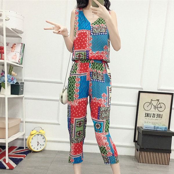 Patchwork Printed Colorful Two Piece Suit - Red