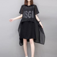 Irregular Thin Fabric Outwear With Mini Dress - Black