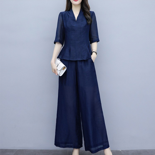 Two Pieces Half Sleeves Plain Casual Suit - Dark Blue