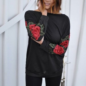 Rose Decorated Sleeves Boat Neck Black Top