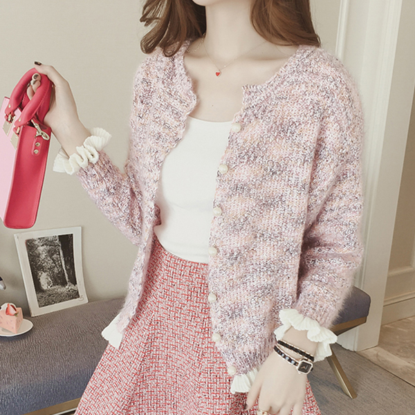 Pearl Button Up Frilled Cuffs Jacket - Pink