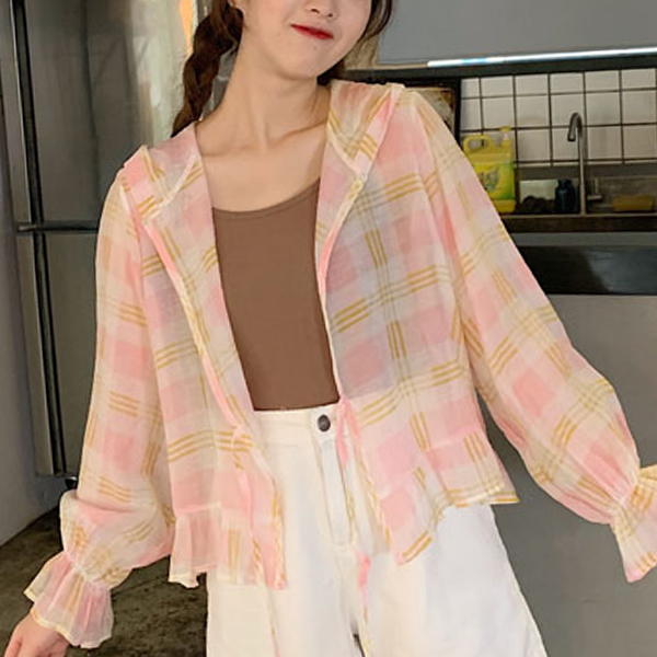 Thin Fabric Check Prints Speaker Sleeved Cardigan - Pink