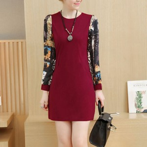 Printed Sleeves O Neckline Mini Party Dress - Red Wine