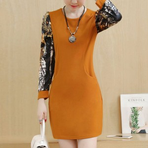 Printed Sleeves O Neckline Mini Party Dress - Orange