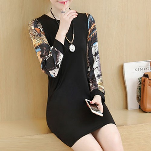 Printed Sleeves O Neckline Mini Party Dress - Black